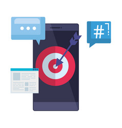 Smartphone with webpage template and target arrow vector