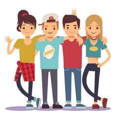 smiling young hugging friends adolescentes vector image