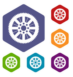 Sprocket from bike icons set vector