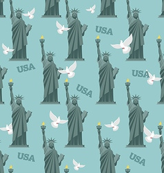 Statue of Liberty and pigeon seamless pattern vector