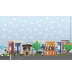 Street traffic concept in flat vector image