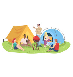students camping trip flat happy men and women vector image