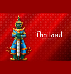 Thailand art thai temple guardian giant vector
