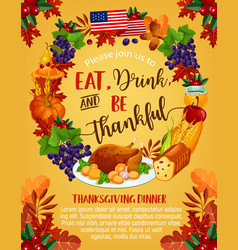 Thanksgiving day american greeting poster vector