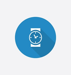 time Flat Blue Simple Icon with long shadow vector image