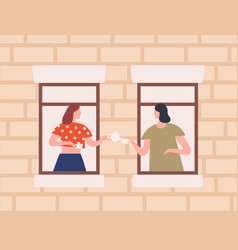two female neighbors drinking tea together vector image