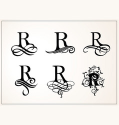 Vintage set capital letter r for monograms and vector