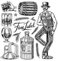 vintage whiskey set wooden barrel scotch and vector image