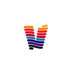 vortex v letter colorful logo symbol vector image