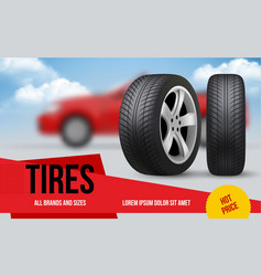Wheel ads brochure template with car wheels vector