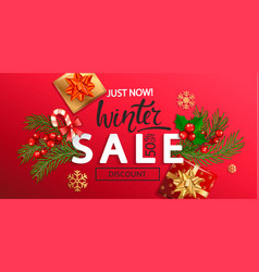 winter sale banner for new year holidays vector image