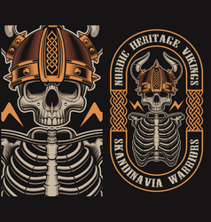 with a viking skull vector image