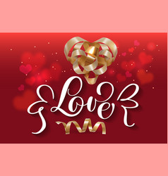 with hearts gift gold ribbon vector image