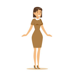 Woman in brown dress overwhelmed with happiness vector