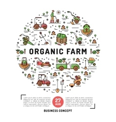 Agriculture and organic farm fresh design card vector image