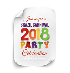 brazil carnival 2018 party poster on white vector image vector image