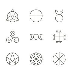 pagan ancient symbols mystery sacred icons vector image vector image