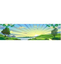 panorama landscape - a view of the lake from the vector image vector image