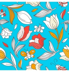 Summer pattern with tulips vector image