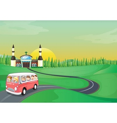 a bus and kids vector image
