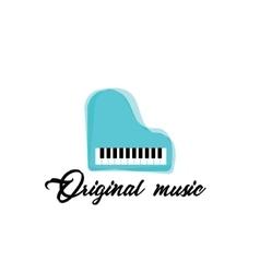 Blue music piano logoColor music template vector image