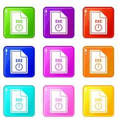 file exe icons 9 set vector image