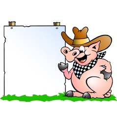 Hand-drawn of an Pig Chef in front of a sign vector image vector image