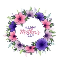 Happy Mothers Day lettering with floral round vector image