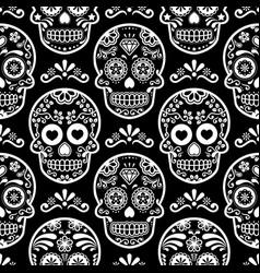 mexican sugar skull seamless pattern on bla vector image