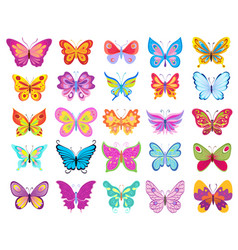 set of cartoon colorful butterflies drawing on vector image