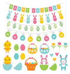 easter decoration and cartoons set vector image vector image