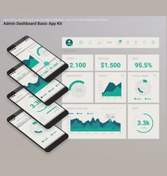 flat design responsive admin dashboard ui mobile vector image