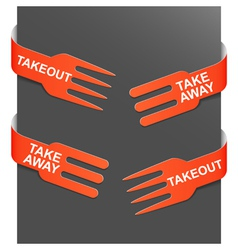 left and right side signs - takeout and takeaway vector image