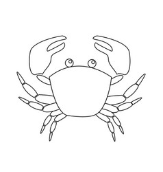 contour image of crab isolated on white background vector image vector image