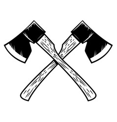 crossed lumberjack axes isolated on white vector image vector image