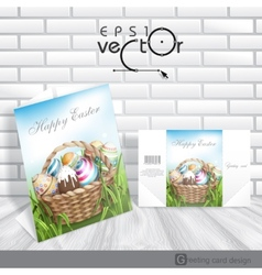 Easter Background With A Basket vector image vector image