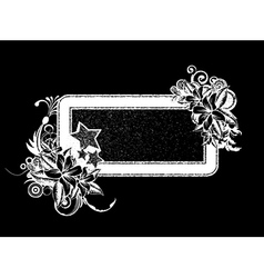 grunge floral frame with stars vector image