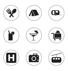 set of 9 editable holiday icons includes symbols vector image vector image