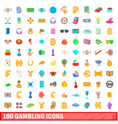 100 gambling icons set cartoon style vector