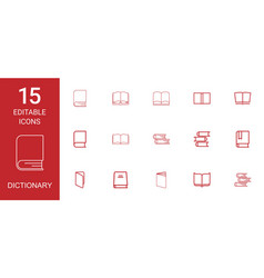 15 dictionary icons vector image