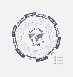 2019 calendar templatehexagon shape vector image