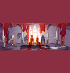Abandoned medieval castle with royal thrones vector