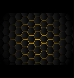 abstract black hexagon pattern on yellow neon vector image