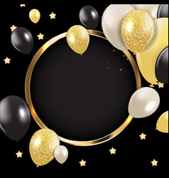 Abstract card with golden frame and balloons vector