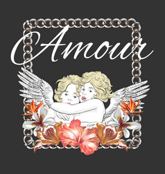 Amour hand drawn hugging cupids vector