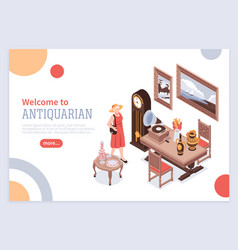 Antique isometric poster vector