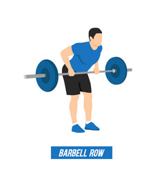 Athlete performs bent-over rows exercise vector