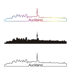Auckland skyline linear style with rainbow vector image