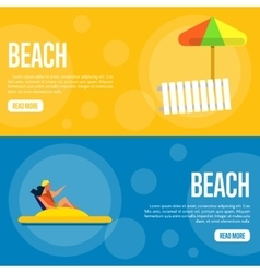 Beach Website Template Set Horizontal banners vector