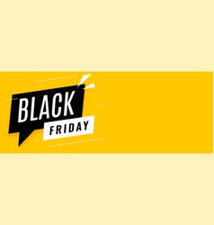 black friday sale yellow banner with text space vector image